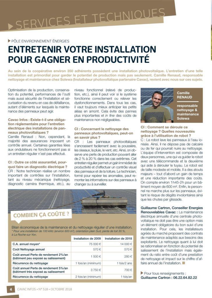 Performance des installations: Cavac Infos fait le point
