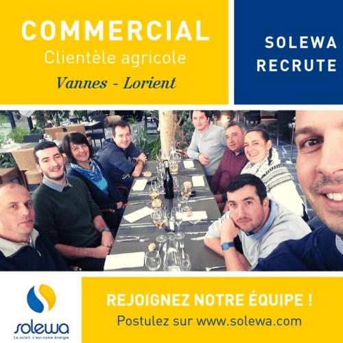 Solewa recrute un(e) commercial(e) en photovoltaïque pour notre clientèle agricole